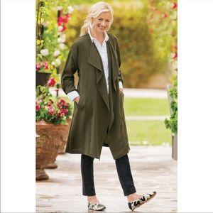 Soft Surroundings Olive Green Draped Coat